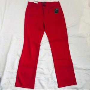 Ralph Lauren Red Slimming Classic Straight Pant